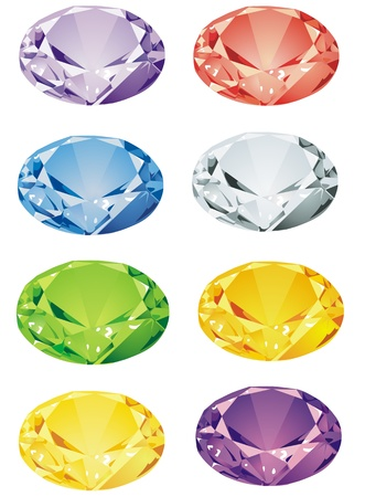 topaz: An assortment of brilliant cut precious stones, some of the less commonly illustrated types  Illustration