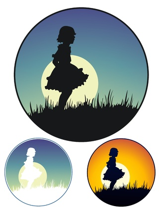 moonrise: Silhouette of a young girl in a party dress  Moonrise and sunset versions, as well as a stencil version  Illustration