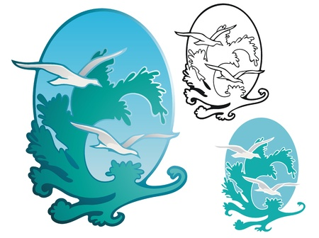 crashing: crashing waves and gulls  Non gradient and stencil versions included  Illustration