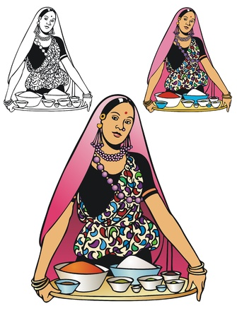 indian spices: Woman in traditional dress offering a tray of spices and food ingredients  Comes with non-gradient and black outline versions