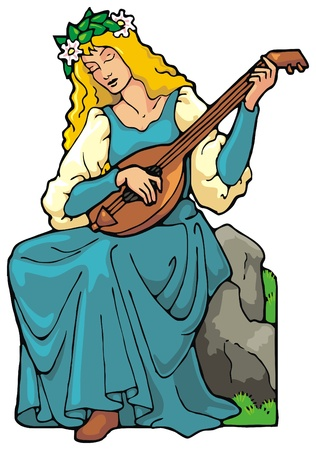 bard: Maiden with medieval stringed instrument Illustration