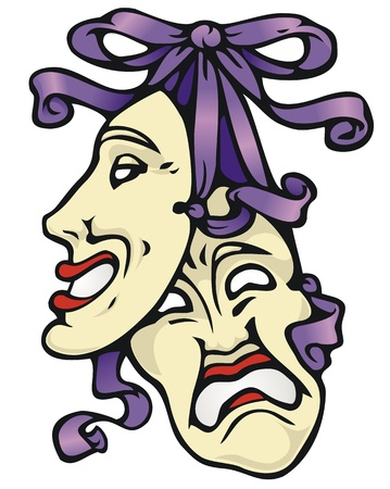 comedy: Traditional symbols of the theater, tragedy and comedy masks, with a purple bow