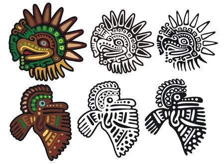 maya: Dos glifos �guila diferentes, en tres versiones de cada Vectores