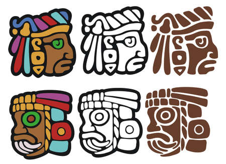pre columbian: Mayan style glyphs   Includes black outline and stencil versions