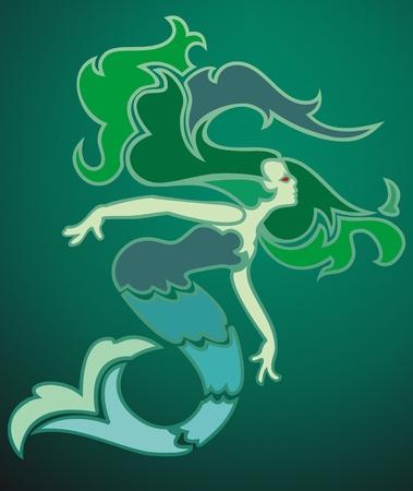 stencil: Art deco style mermaid