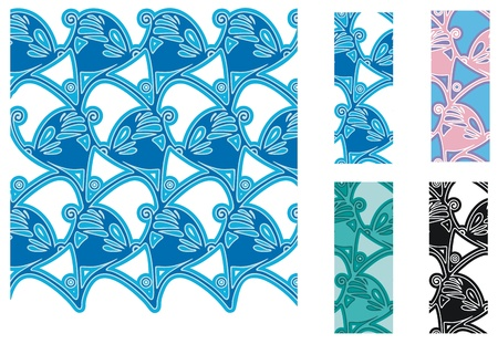 Art Nouveau style butterfly pattern, with tiles and variations Vector