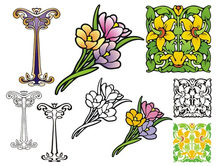 Three floral ornaments, Art Nouveau style, with stencil ,non-gradient, and black outline versions  Ideal for business card or letterhead