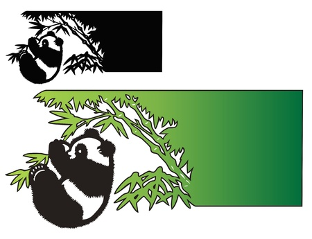 Panda gets himself out on a limb  Good for business card or letterhead