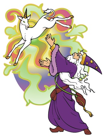 conjuring: Wizard conjuring a unicorn, which doesn t want to stick around