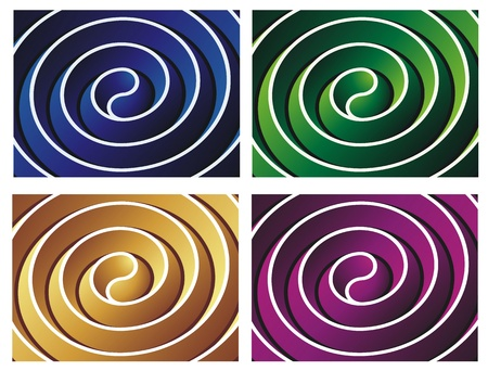 dramatic: Ultimate Yang   dimensional spirals in alternate colors, dramatic geometric abstracts