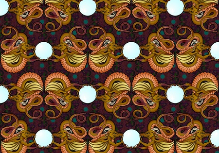 seamless pattern of dragons dancing with a crystal ball Stock Photo