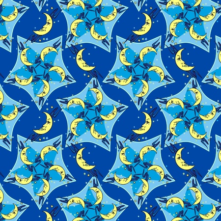 moons: Sleepytime design of smiling moons for your pajama parties  Seamless wallpaper Stock Photo