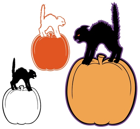 hissing: Halloween border of a cat hissing on a pumpkin, with variations