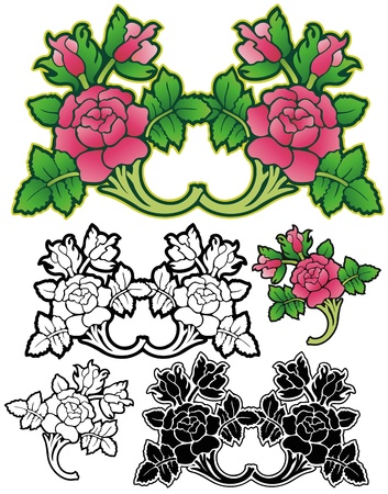 Rose ornaments with variations Illustration