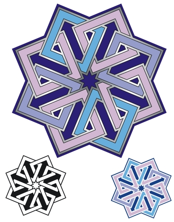 emblem of eight interlaced squares with variations Illustration