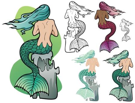 fantasy mermaid with variations Illustration