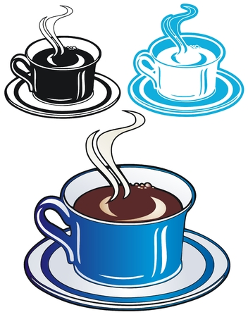 caffiene: coffee in a blue cup