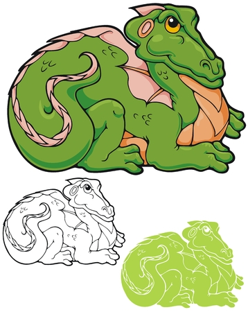mythological character: Smug little froggy dragon  Comes with black outline and stencil versions