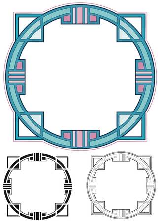 art deco border: Square border with variations Illustration
