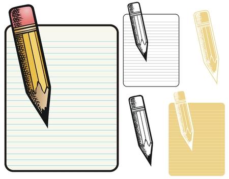 memo pad: Memo pad and pencil  Illustration
