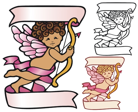 Cute cupid with banners, and variations Illustration