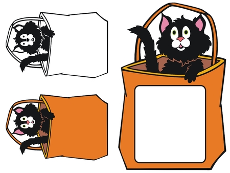 Cute black cat in a trick or treat bag, with room for text