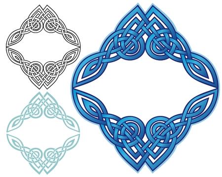 celtic art: blue ornate border design Illustration