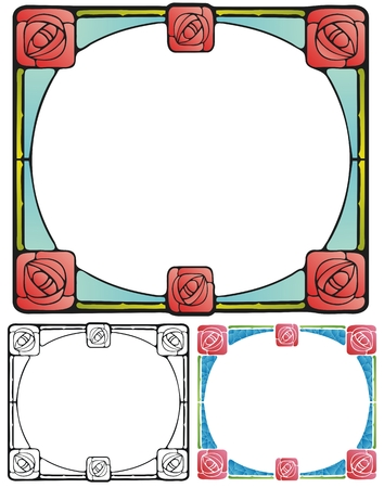 square shape: arts and crafts border with square roses Illustration