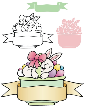 Bunny in a basket of eggs with a banner, and variations Illustration