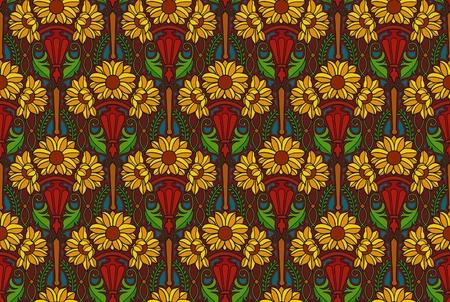 art nouveau pattern of sunflowers in sconces, jewel tones