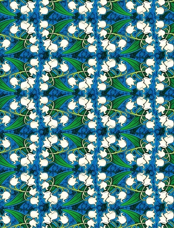 cheerful pattern of lilies of the valley photo