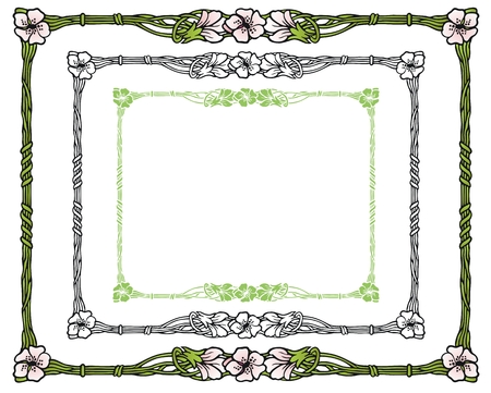 springtime: Art nouveau style border with apple blossoms and spring green stems.