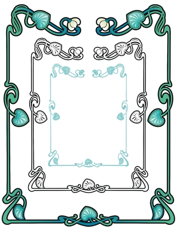 art nouveau style border of water nymph lilies with vines and leaves Illustration