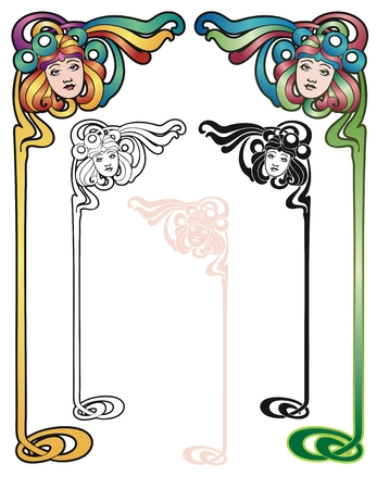 stationery border: border elements in the art nouveau style with variations. Illustration