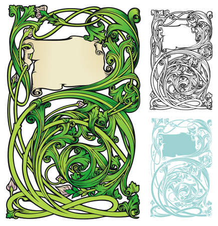 art nouveau border: fanciful bookplate style frame or border with variations Illustration