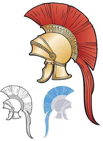 Gilded helmet with a tall red crest and plume with variations. Illustration