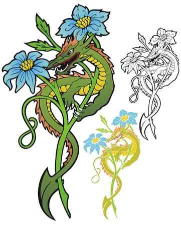 diminuto: Feroz drag�n min�sculo en un tallo de la flor