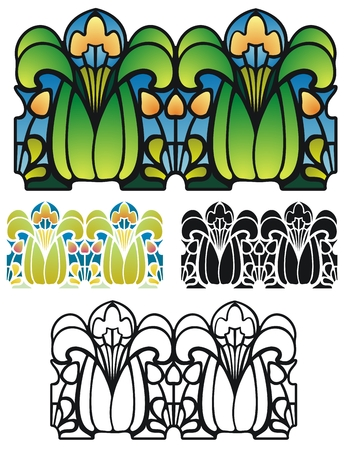 springtime flowers: Art Nouveau style border of fantasy springtime flowers and leaves