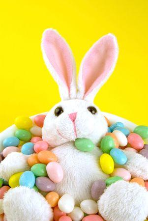 bunnie: The easter bunnie taking a bath in eggs