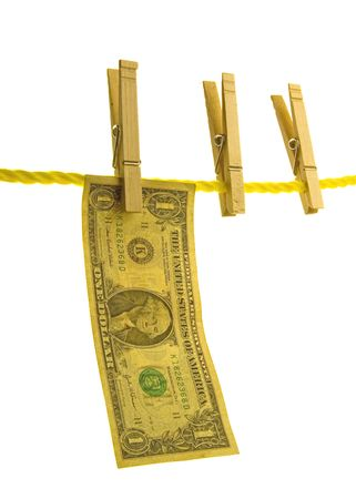 a one dollar bill hanging on a clothesline with white background photo