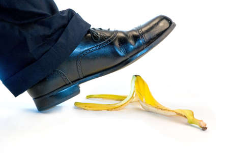 banana: Someone about to slip and fall on a banana Stock Photo
