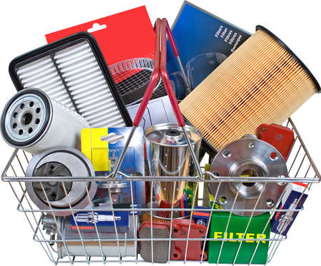 eshop: Kit parts in Shopping cart Stock Photo
