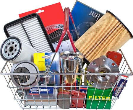 tuning: Kit parts in Shopping cart Stock Photo