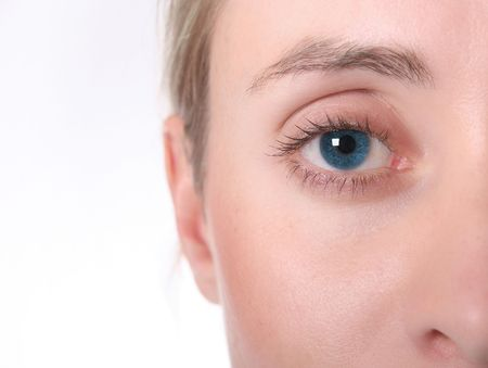 socialise: Female eye. Bright Blue. High Key. Short DOF Stock Photo