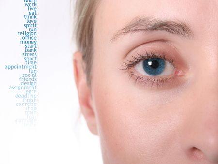 Female eye. Bright Blue. High Key. Short DOF photo