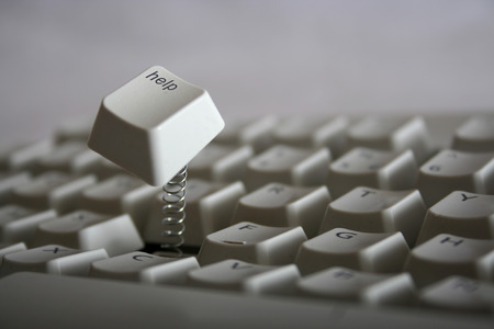 Help key jumping out of keyboard with a spring. Red colored version also available photo
