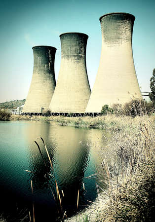 inconvenient: Coal power station cooling towers Stock Photo
