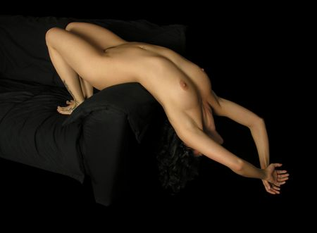 nudity girl: Stretched nude woman body Stock Photo
