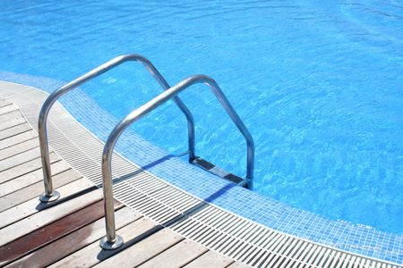 hand rails: The entrance of a modern swimming pool... Stock Photo