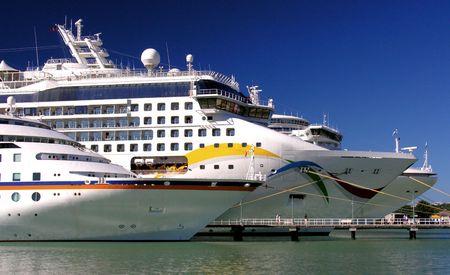 Three docking cruiseships in the port of St. Johns  Antigua
